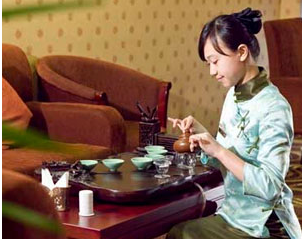 Chinise Girl with Tea